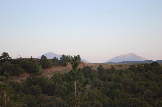the Spanish Peaks at sunrise as seen from patio at Trinidad LaQuinta