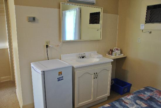 Dunlop Motel: Sink and fridge