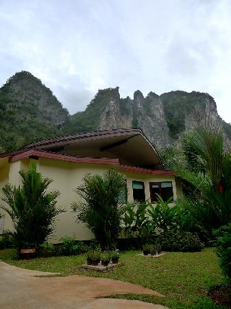 Aonang Phu Petra Resort, Krabi: The back of our villa - so the door of our villa was facing the magnificent hill