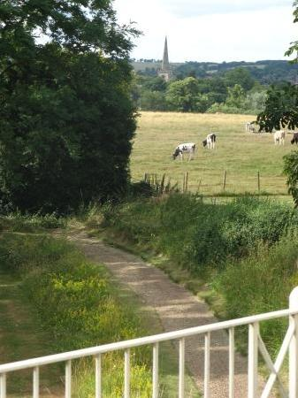 Cross O' Th' Hill Farm: View from our window - note Church of the Holy Trinity where Shakespeare is buried
