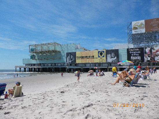 Caesars Atlantic City: view from the beach of The Pier shops & restaurants