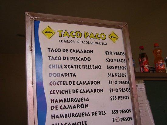 Paco Taco: Menu board