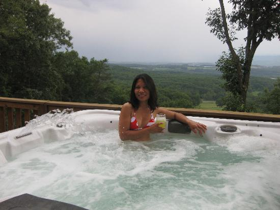 My Wife In The Hot Tub Enjoying The View Of The Valley