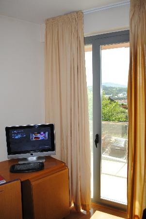 Hotel Palacio de Aiete: el escritorio y TV con una pequeña terracita