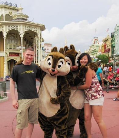 Magic Kingdom Park: My fiance & I with Chip & Dale