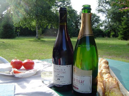 Les Bois d'Esves: Local wine, cheese and tomato; a picnic in the grounds...a small piece of heaven on earth!