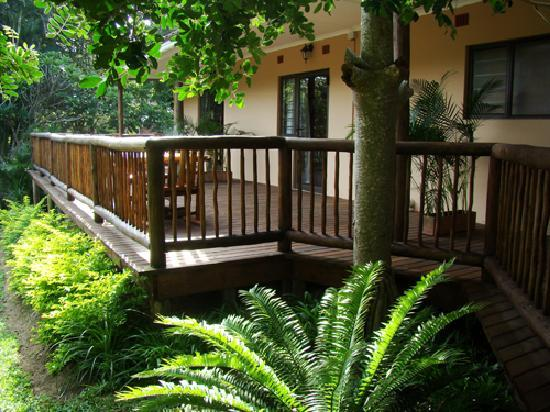 Leopard Corner Guest House: The deck which opens onto our very own slice of the Wetland Park.