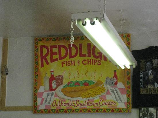 Redd Light Fish & Chips: Sign inside