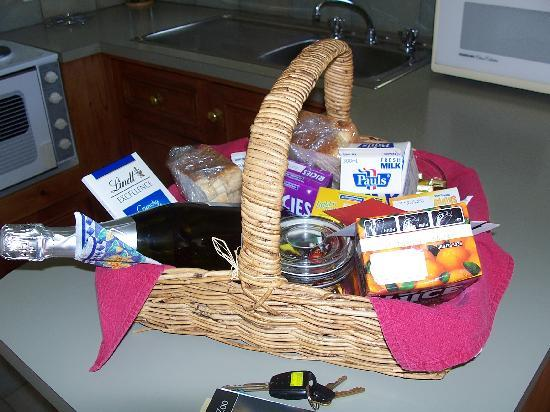 Mountain View Motor Inn & Holiday Lodge: Breakfast basket - Spa cabin
