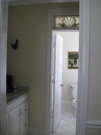 Captain's Quarters: vanity leading to bathroom in room 1