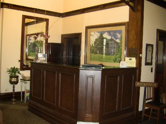 The Robertson Hotel: The reception counter. Pauline is hiding behind it, you can see her hair.