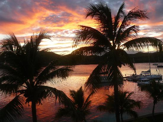 St. James's Club & Villas: Sunset over Mamora Bay