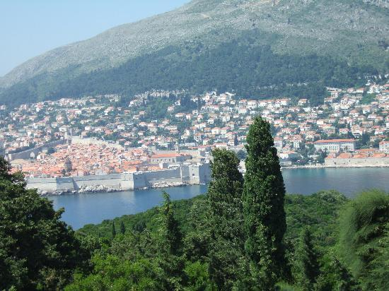 Island of Lokrum: View from fortress over to Dubrovnik