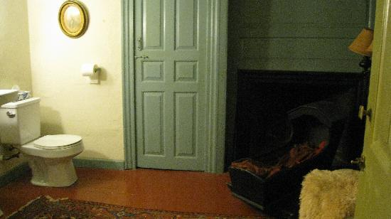 Stephen Daniels House: fireplace and cryptic cradle opposite toilet