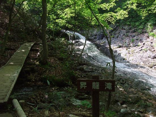 Nihonmatsu, Japan: 滝と傍を通る遊歩道