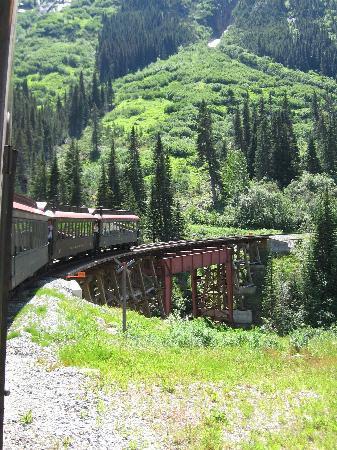 White Pass & Yukon Route Railway: Train over bridge