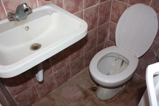 Hotel Dolphin: when you sit on the toilet you are directly under the sink