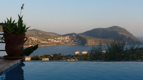Villa Pisces, view over pool out to the mountain at head of Kalkan Bay