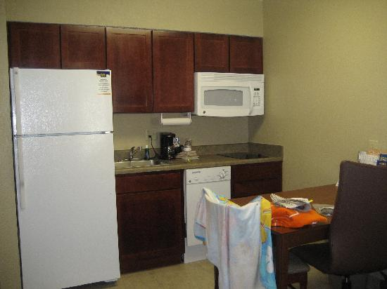 MainStay Suites : Kitchenette with Full Refrigerator and Microwave