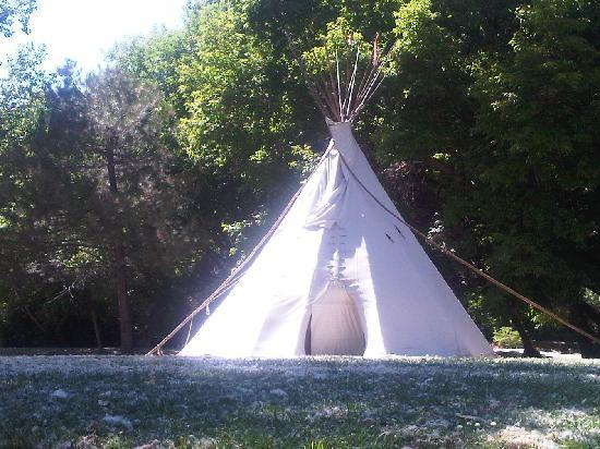 One of the teepees that are available for rent at Fort Buenaventura
