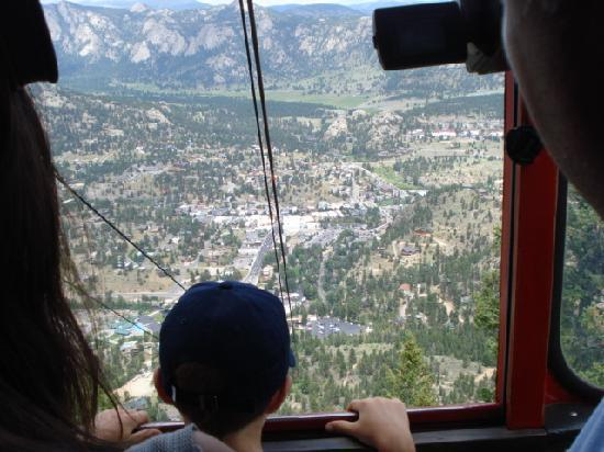 Estes Park Aerial Tramway: looking out of the tram car