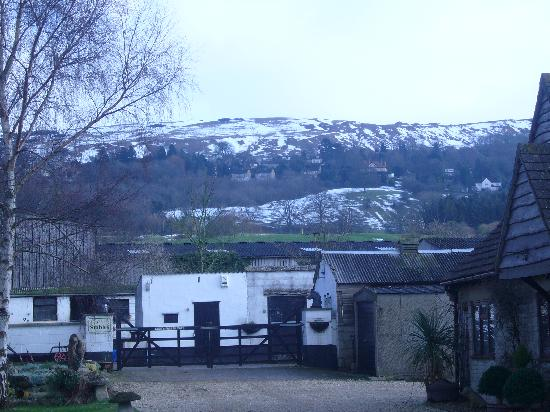 Gambles Farm: View of stables and cleeve hill