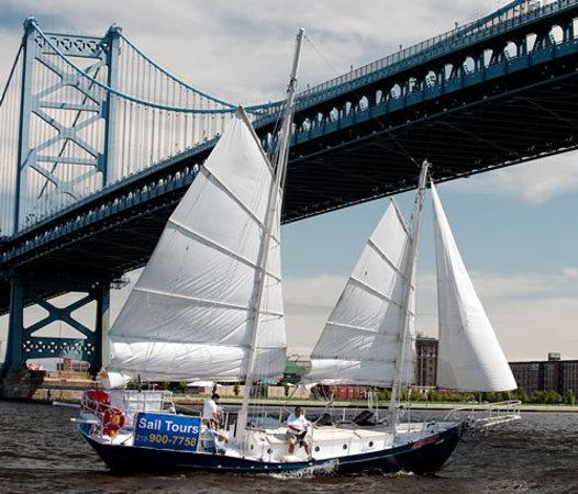 American Sailing Tours: Under the Ben Franklin Bridge