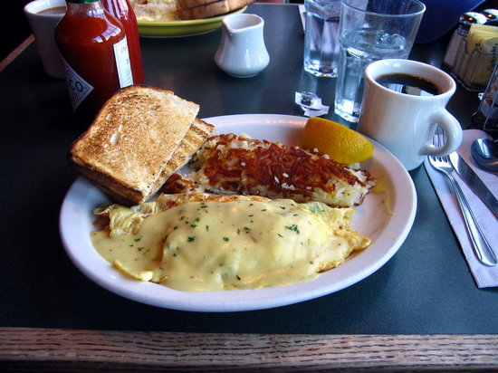 Lowell's Restaurant: My blackened wild king salmon omelet  with hollandaise sauce