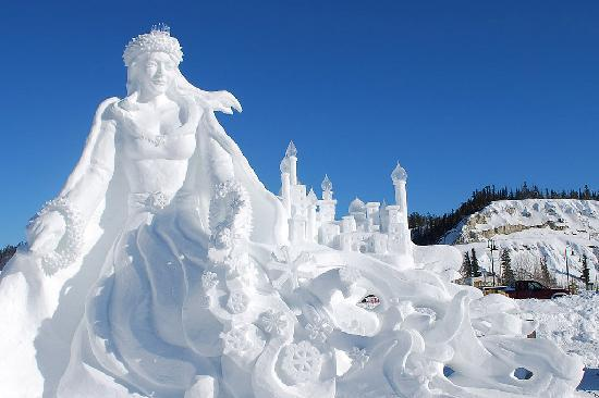 Yukon Territory, Canada: Snow sculptures during Yukon Sourdough Rendezvous