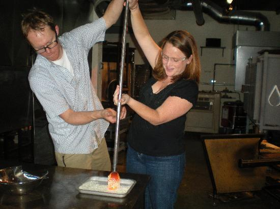Studio West Glassblowing Studio and Gallery : Adding white