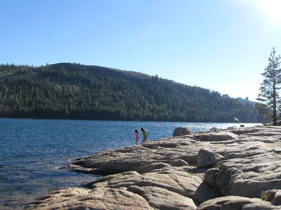 Caples Lake Resort: The rocky area and shallow water are good for kids to play around in (but cold!)