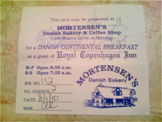 Mortensen's Danish Bakery : Free coupon from Royal Copenhagen Inn