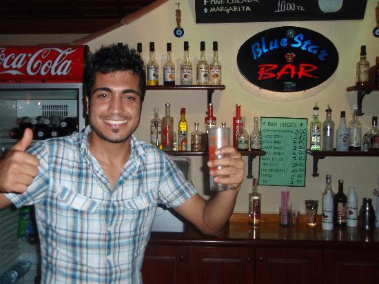 Blue Star Hotel: Rudi the happy barman!!!