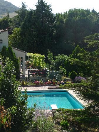 Limoux bed and breakfast in the Hothouse: Hothouse garden and pool.