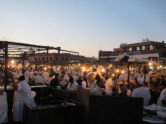 Marrakech, Morocco: Great food on Jemaa el Fna