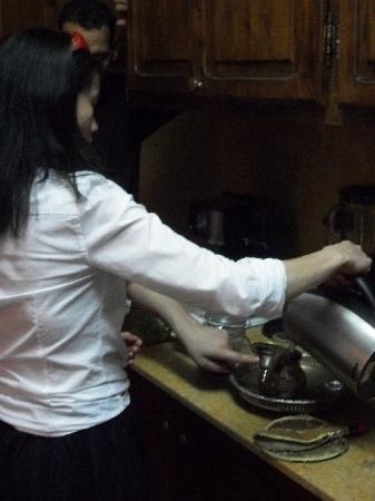 Riad le Clos des Arts: I am making mint tea for the first time! Woo-hoo!