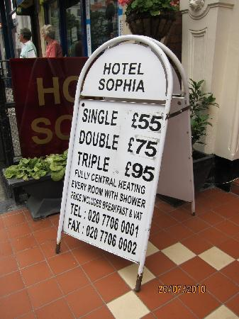 Hotel Sophia: pricing