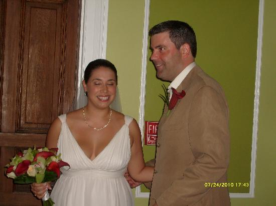 Tom and Melissa before the ceremony in the lobby of the Old Town Manor