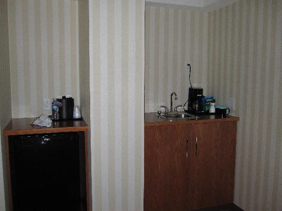 Four Points by Sheraton Prince George: Sink and fridge, behind me is a small table with 2 chairs.