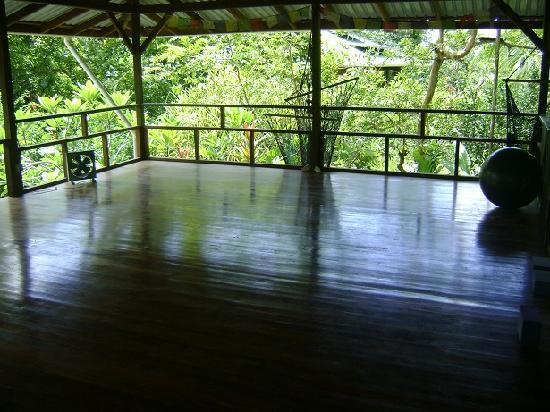 Casa Dos Rios has a covered yoga deck!