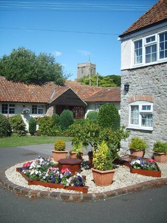 Somerset Court Cottages: Delightful borders and blue skies :)