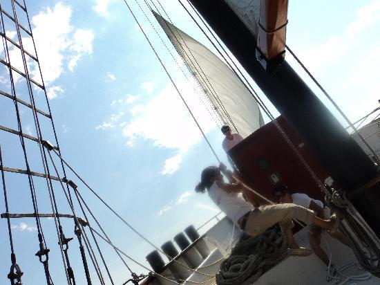 Tallship Cruises : Hoisting the sail - Kajama Tall Ship- Jul. 30th/10