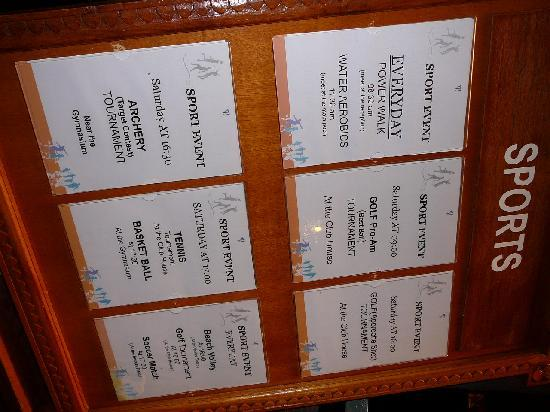 Club Med Bali: Daily Activity board