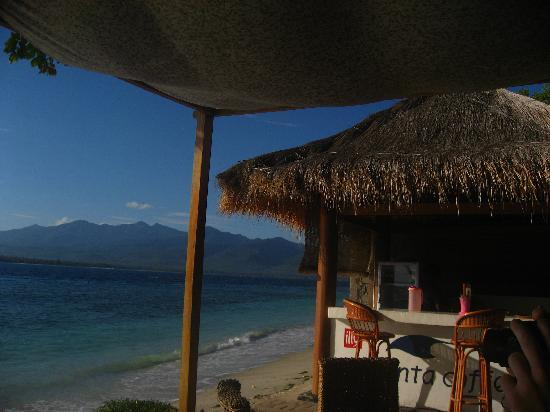 Manta Dive Gili Air Resort: View from the little coffee shop out front