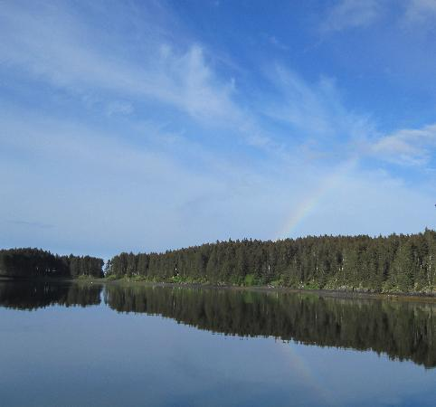 Kodiak Island, AK: Clearing skies - rainbow - outside Kodiak