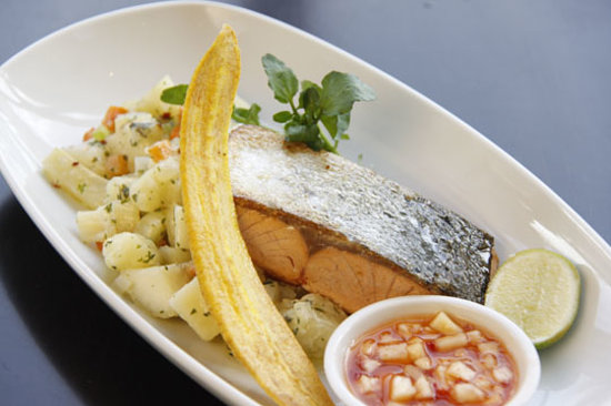 The Waterfront Restaurant: Salmon with potato salad and plantain.