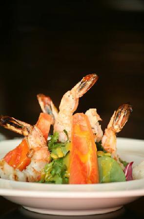 The Waterfront Restaurant: Shrimp salad with fresh papaya.