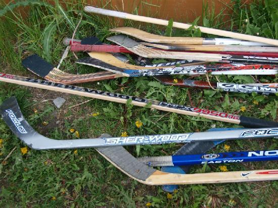 Fireweed Hostel: hockey sticks next to the hostel