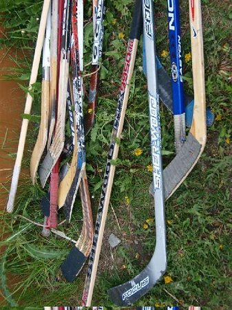 Fireweed Hostel: hockey sticks next to the hostel