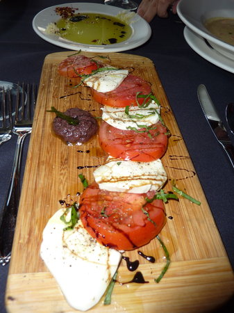 Halsey's: Caprese salad (dipping oil for bread in background)